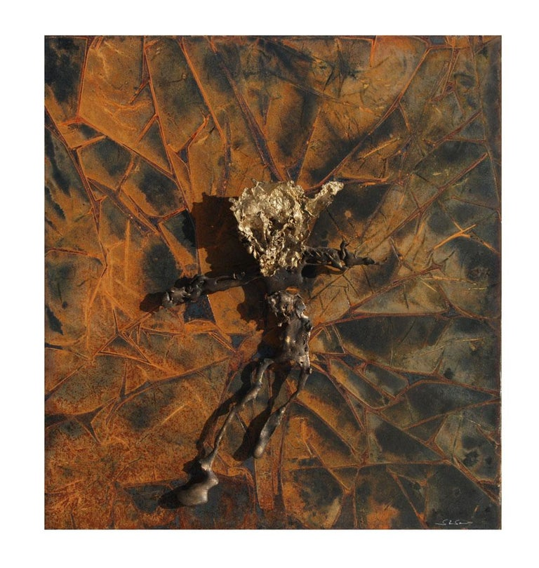 Abstract metal relief by Navid Ghedami  Mixed-media abstract figurative piece sculpted from copper and aged metal.    See additional pieces by the artist.