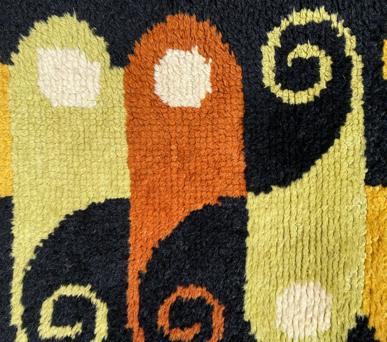 American Abstract Midcentury Wool Rug For Sale