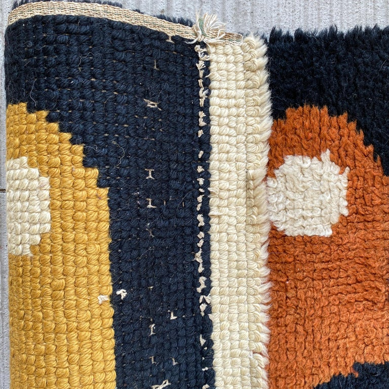 Abstract Midcentury Wool Rug For Sale 1