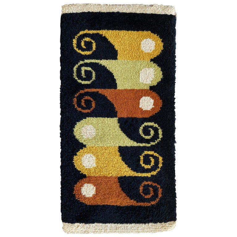 Abstract Midcentury Wool Rug For Sale