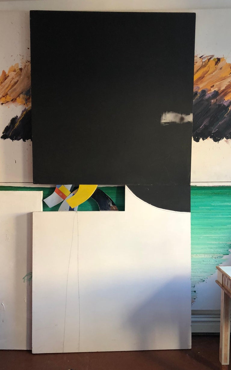Abstract Minimalist Diptych Black & White Panel Painting Erik Atkinson Icon 1971 In Fair Condition For Sale In Brooklyn, NY
