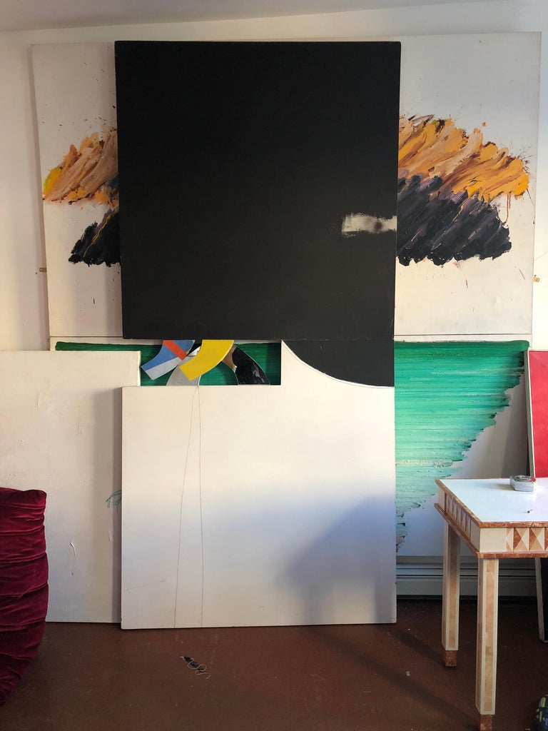 20th Century Abstract Minimalist Diptych Black & White Panel Painting Erik Atkinson Icon 1971 For Sale