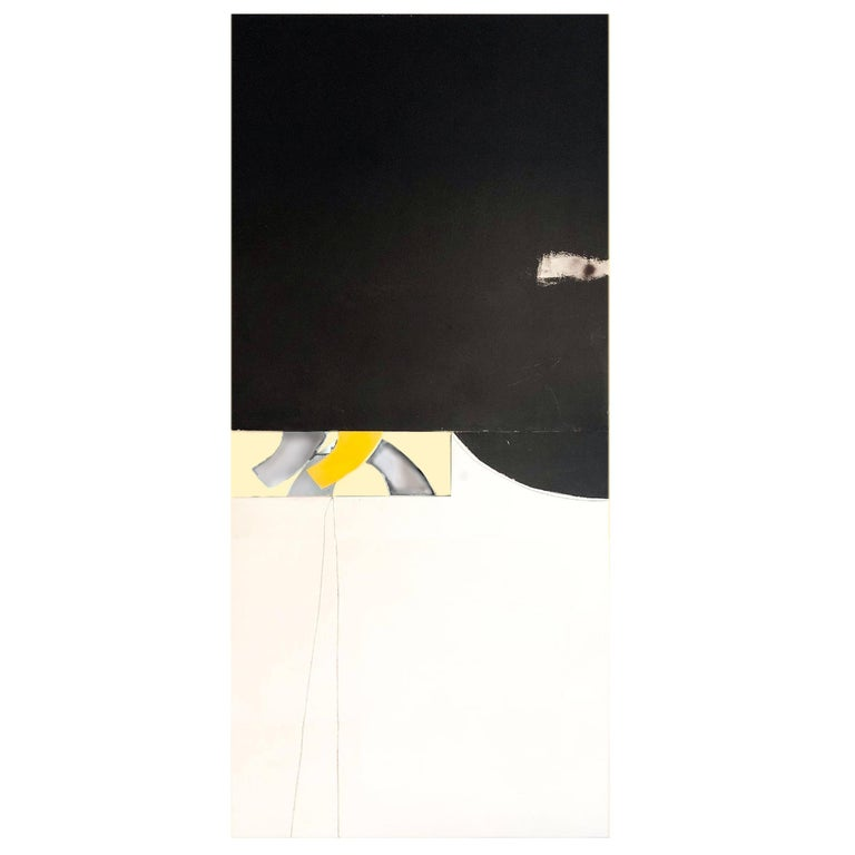Abstract Minimalist Diptych Black & White Panel Painting Erik Atkinson Icon 1971 For Sale
