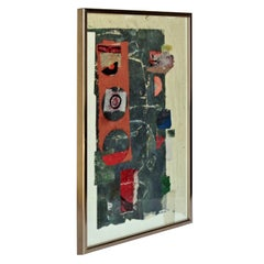 Abstract Mixed Media Collage Painting by Hilda Altschule, 1971