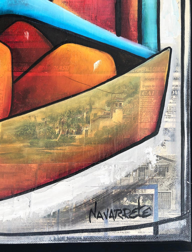 Abstract mixed media painting, Juan Navarette Cuban-American Artist  Offered for sale is an original mixed media (oil on canvas/collage) titled