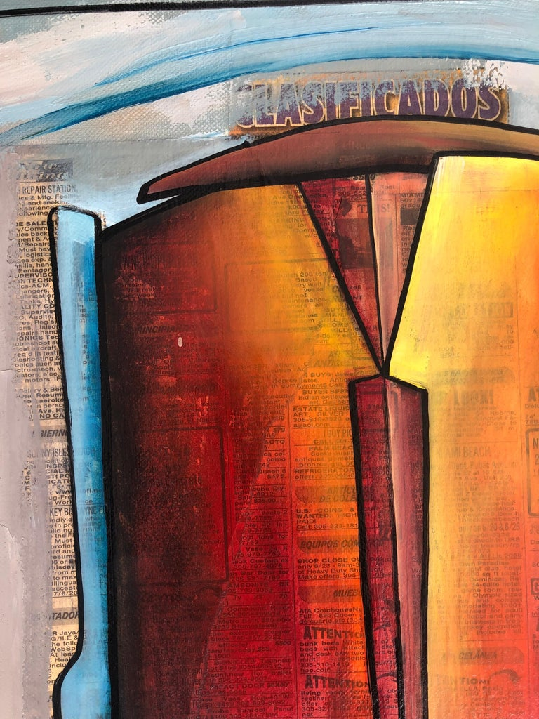 Hand-Painted Abstract Mixed Media Painting, Juan Navarette Cuban-American Artist For Sale
