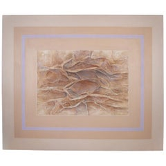 Abstract Mixed-Media Painting on Canvas Vintage
