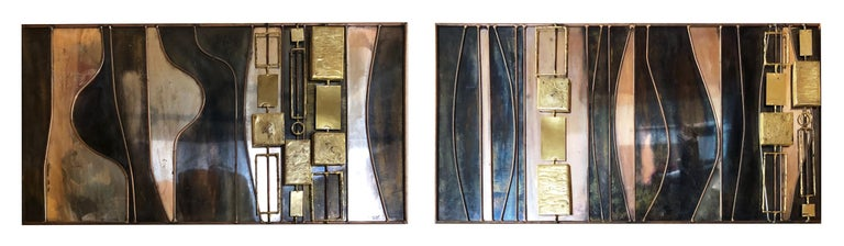 This beautiful Curtis Jeré abstract mixed-metal wall sculpture is made from copper, brass, steel and bronze, featuring cast 3D shapes over a flat multi-metal surface.   Existing in 2 parts, it can be hung horizontally or vertically as one or two