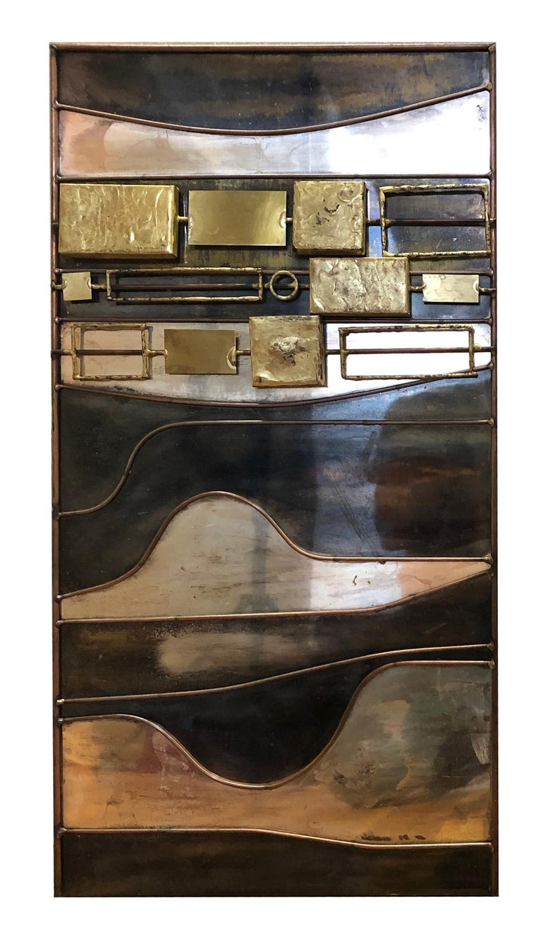 Mid-Century Modern Abstract Mixed-Metal Wall Sculpture by Curtis Jeré For Sale