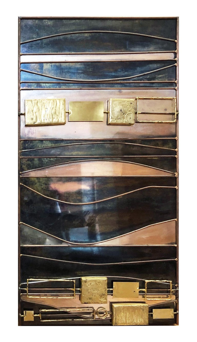 American Abstract Mixed-Metal Wall Sculpture by Curtis Jeré For Sale