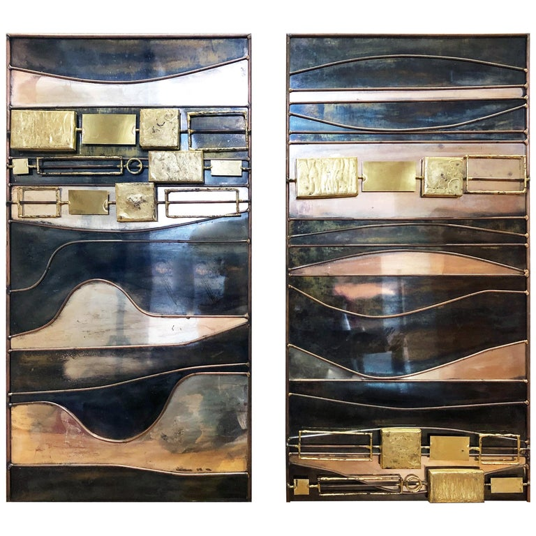 Abstract Mixed-Metal Wall Sculpture by Curtis Jeré For Sale