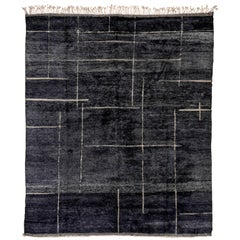 Abstract and Modern Black and White Hand Knotted Moroccan Rug