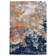 Abstract Modern Indian Blue and Orange Handmade Wool and Silk Rug
