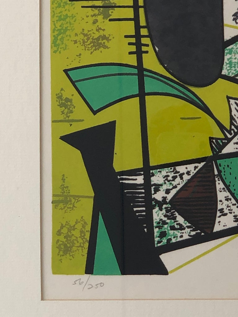 Abstract Modern Leo Russell Graphic Print in Shades of Green, White, Black, Gray For Sale 2