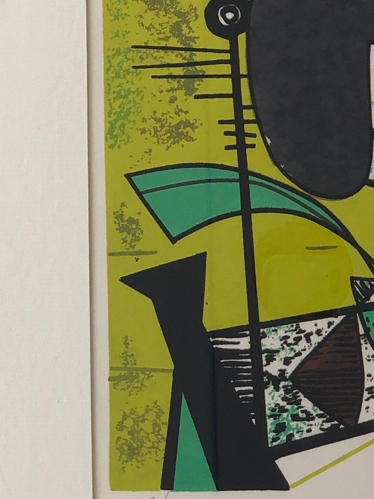 Abstract Modern Leo Russell Graphic Print in Shades of Green, White, Black, Gray For Sale 3