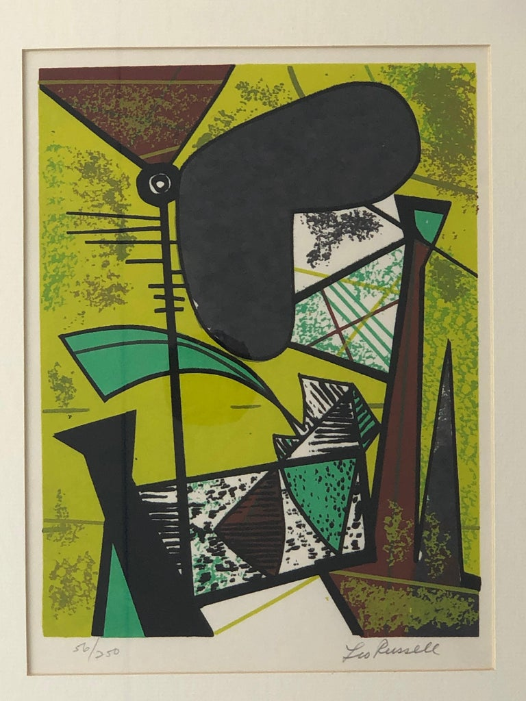 Abstract Modern Leo Russell Graphic Print in Shades of Green, White, Black, Gray For Sale 7
