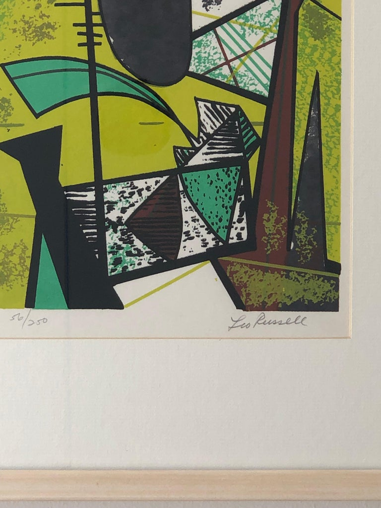 Abstract Modern Leo Russell Graphic Print in Shades of Green, White, Black, Gray For Sale 5