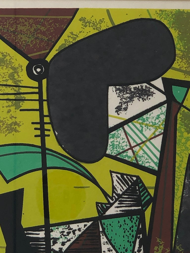 American Abstract Modern Leo Russell Graphic Print in Shades of Green, White, Black, Gray For Sale