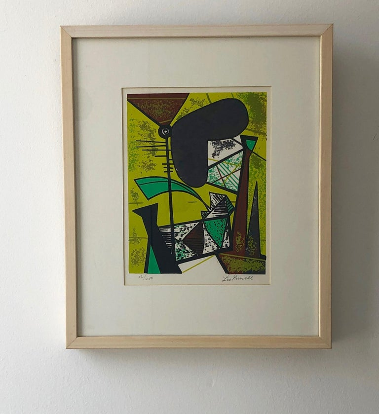 Offered is a pencil signed and numbered 55/250 Leo Russell Modernist abstract graphic print in bright Chartreuse green, mint green, white, gray black and brick red. The piece is framed in blond wood and in under Plexiglass. Even though this piece is