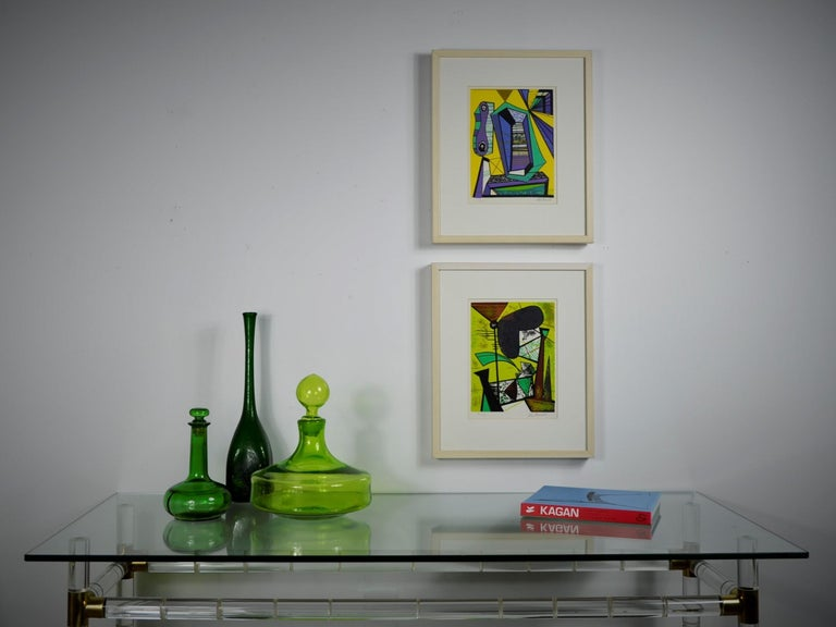 Abstract Modern Leo Russell Graphic Print in Shades of Green, White, Black, Gray For Sale 13
