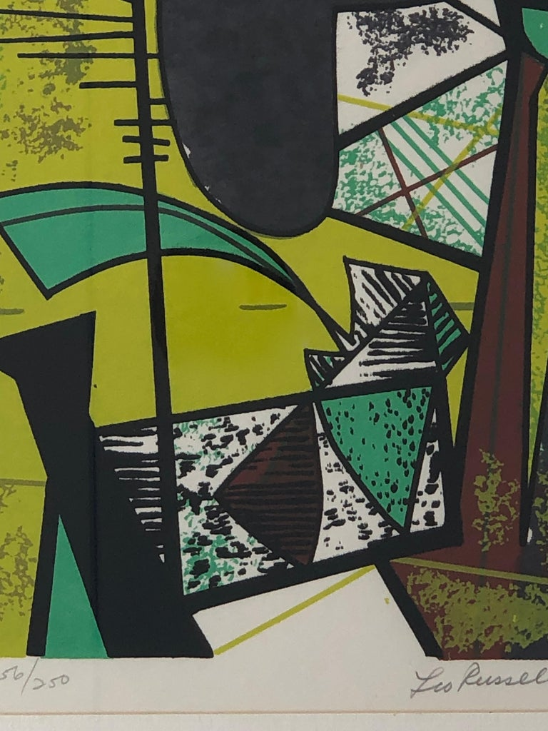 Abstract Modern Leo Russell Graphic Print in Shades of Green, White, Black, Gray For Sale 4