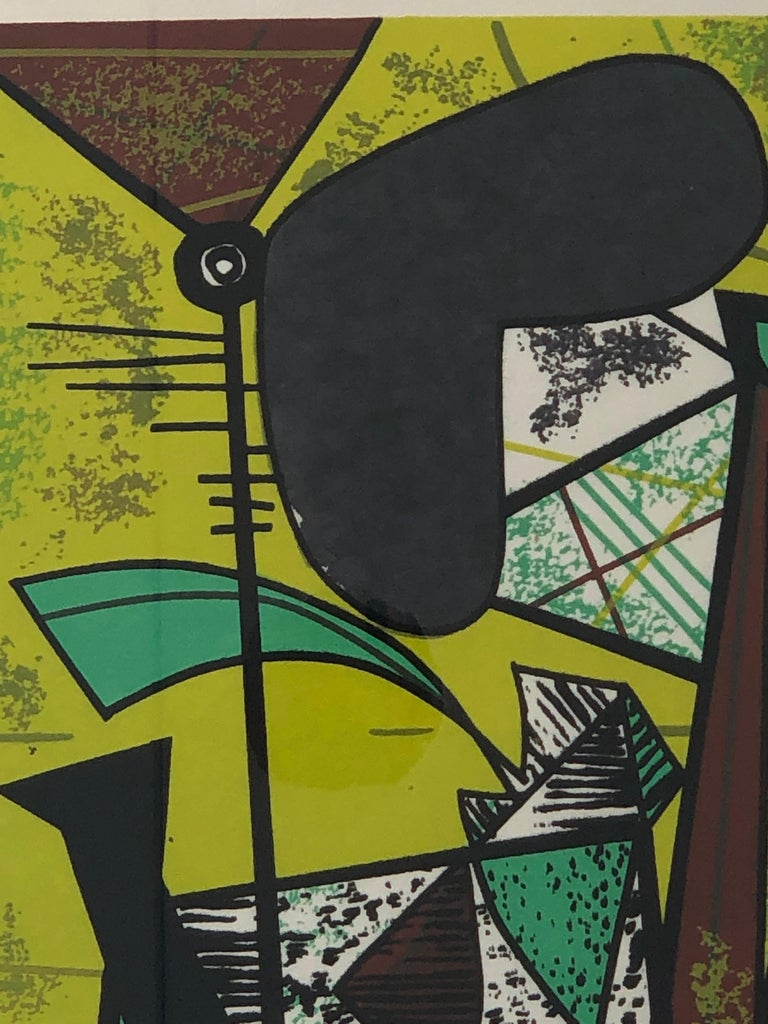 Abstract Modern Leo Russell Graphic Print in Shades of Green, White, Black, Gray In Good Condition For Sale In Houston, TX