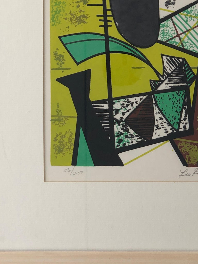 Abstract Modern Leo Russell Graphic Print in Shades of Green, White, Black, Gray For Sale 9