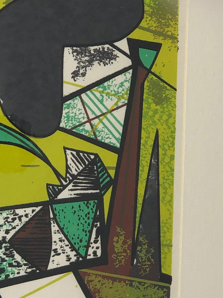 Abstract Modern Leo Russell Graphic Print in Shades of Green, White, Black, Gray For Sale 8