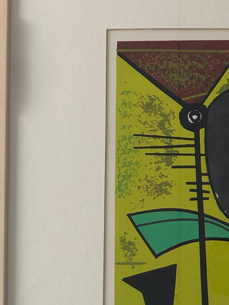 20th Century Abstract Modern Leo Russell Graphic Print in Shades of Green, White, Black, Gray For Sale