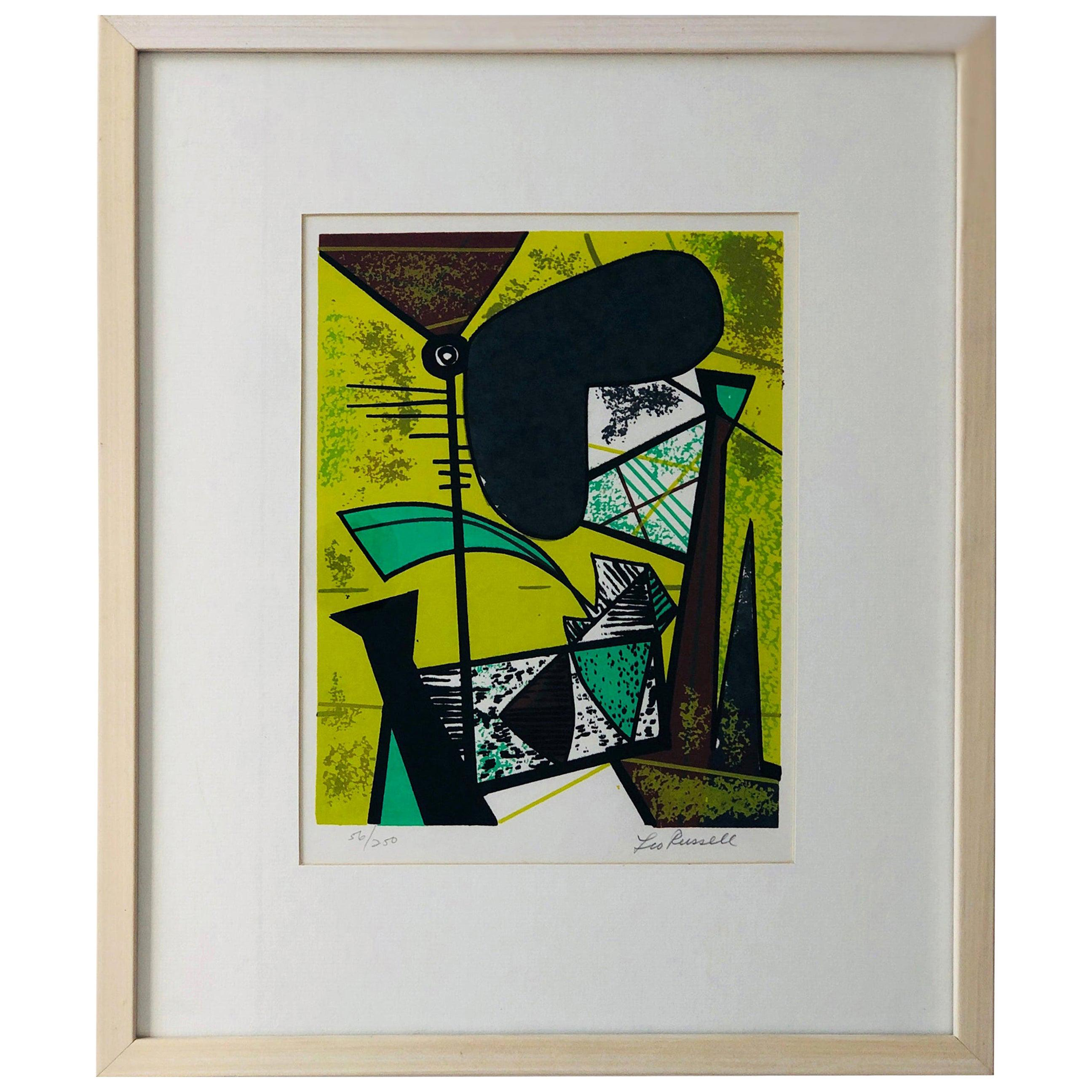 Abstract Modern Leo Russell Graphic Print in Shades of Green, White, Black, Gray
