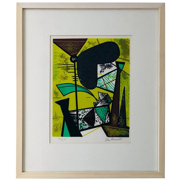 Abstract Modern Leo Russell Graphic Print in Shades of Green, White, Black, Gray For Sale