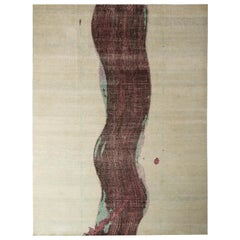 Rug & Kilim's Abstract Modern Rug Beige Purple Custom Stripe Pattern