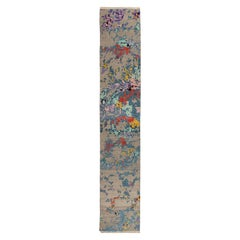 3x16.3 Ft  Abstract Modern Turkish Runner Rug with High & Low Wool Pile