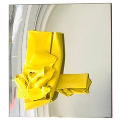 Abstract Modern Yellow Enamel on Metal and Stainless Steel Wall Sculpture