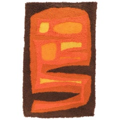 Abstract Modernist Hand Hooked Fiber Art Wall Hanging, circa 1970s