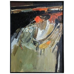 Abstract Modernist Impasto Oil on Canvas Painting by Meinke