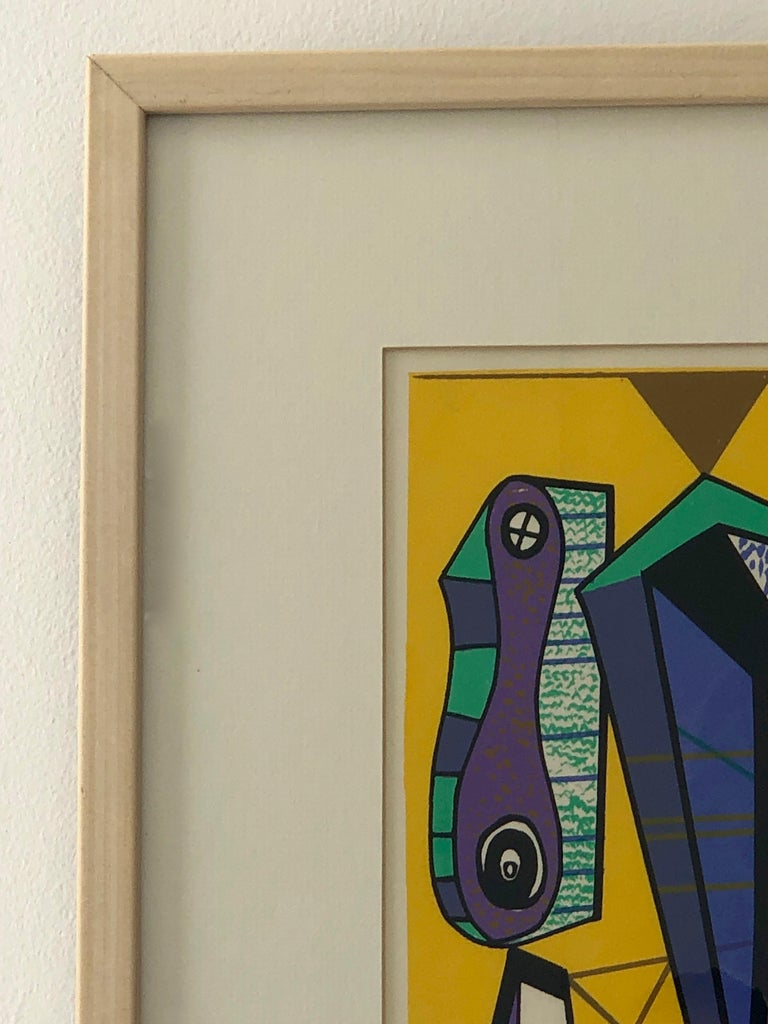 Abstract Modernist Leo Russell Graphic Print in Yellow, Purple, Black and Gray For Sale 8