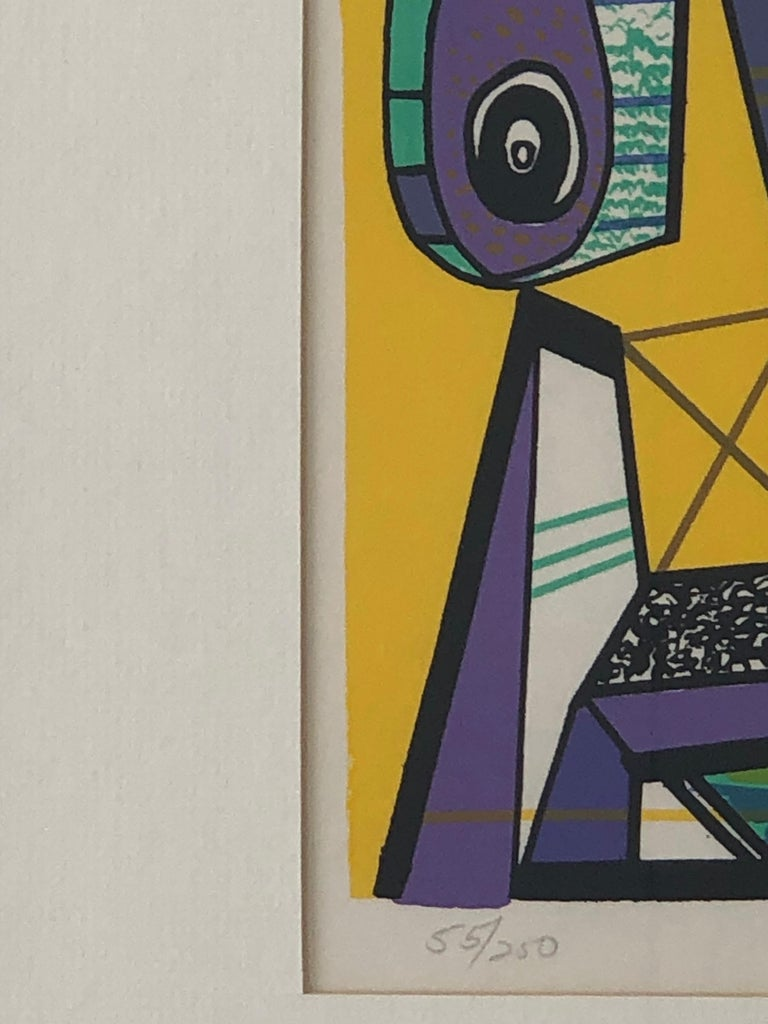 Abstract Modernist Leo Russell Graphic Print in Yellow, Purple, Black and Gray For Sale 7