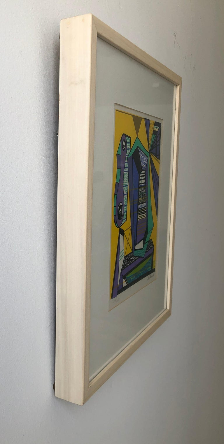 Abstract Modernist Leo Russell Graphic Print in Yellow, Purple, Black and Gray For Sale 9