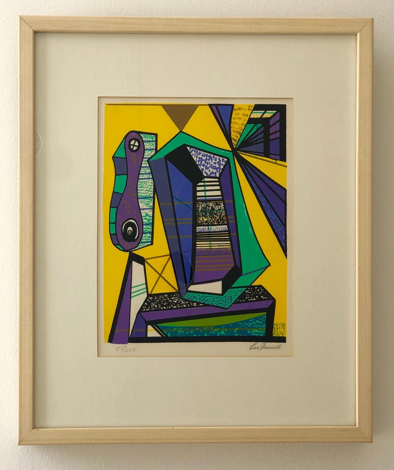 Offered is a pencil signed and numbered 55/250 Leo Russell Modernist abstract graphic print in bright yellow, purple, white, gray and black. The piece is framed in a blond wood and plexiglass frame. Even though this piece is considered abstract,