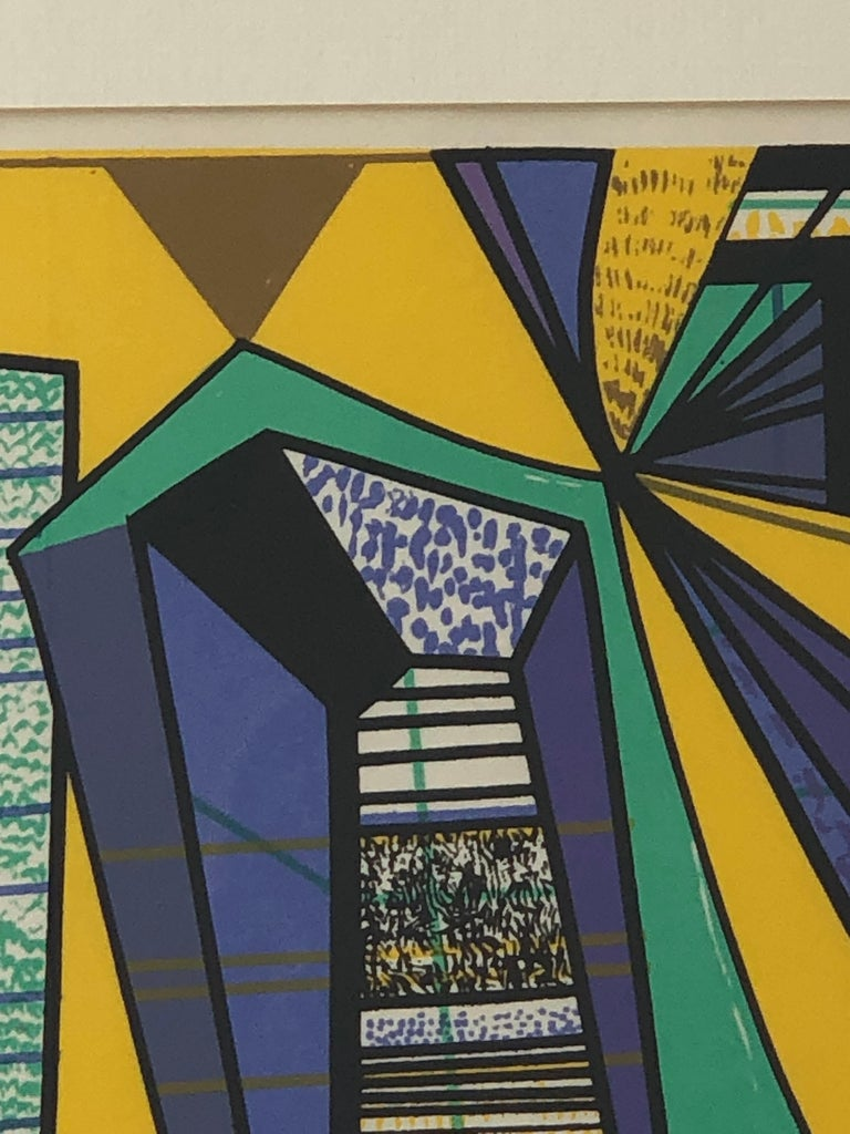 American Abstract Modernist Leo Russell Graphic Print in Yellow, Purple, Black and Gray For Sale