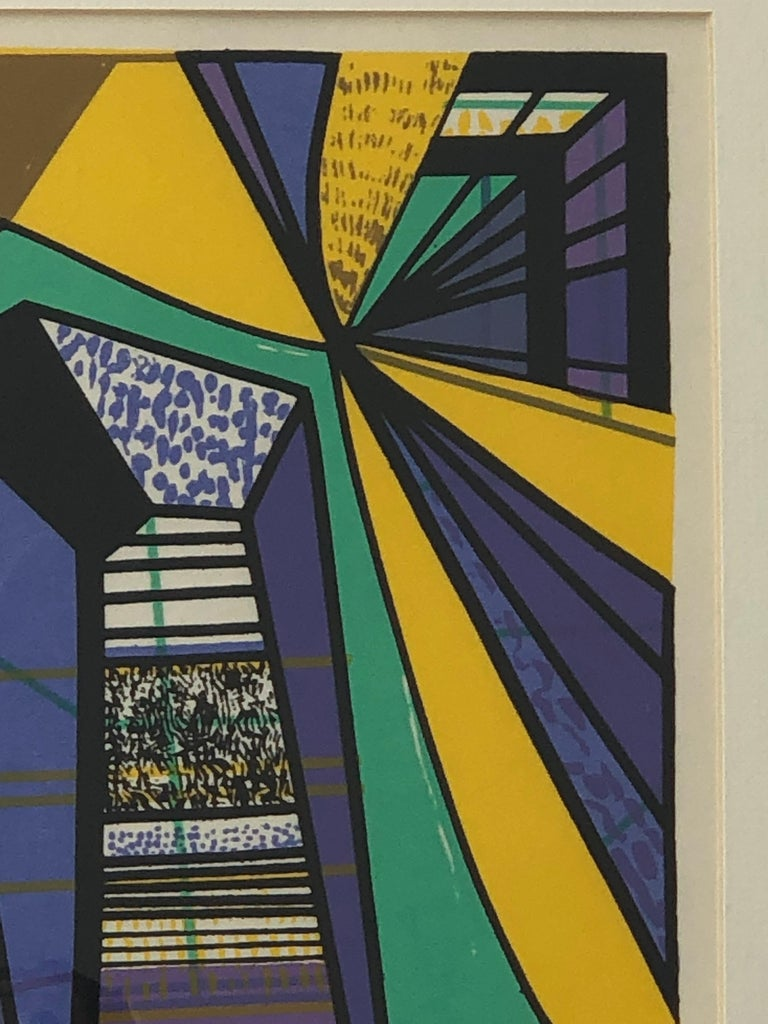 Abstract Modernist Leo Russell Graphic Print in Yellow, Purple, Black and Gray In Good Condition For Sale In Houston, TX