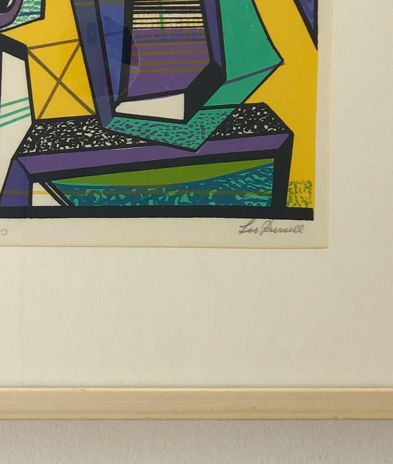 Abstract Modernist Leo Russell Graphic Print in Yellow, Purple, Black and Gray For Sale 4