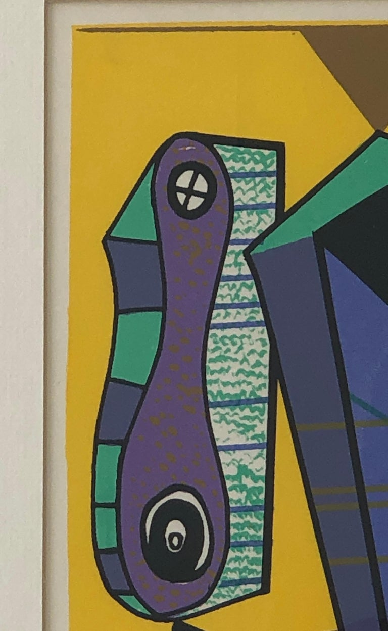 20th Century Abstract Modernist Leo Russell Graphic Print in Yellow, Purple, Black and Gray For Sale