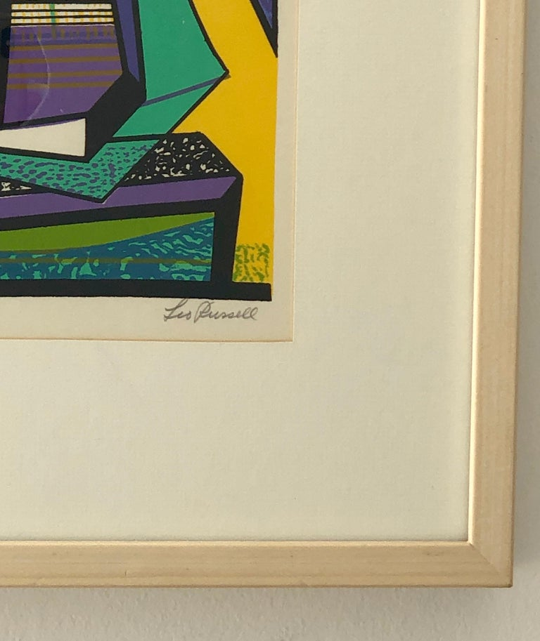 Abstract Modernist Leo Russell Graphic Print in Yellow, Purple, Black and Gray For Sale 5