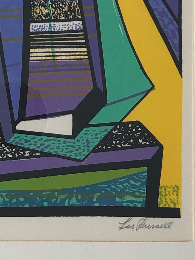Abstract Modernist Leo Russell Graphic Print in Yellow, Purple, Black and Gray For Sale 2