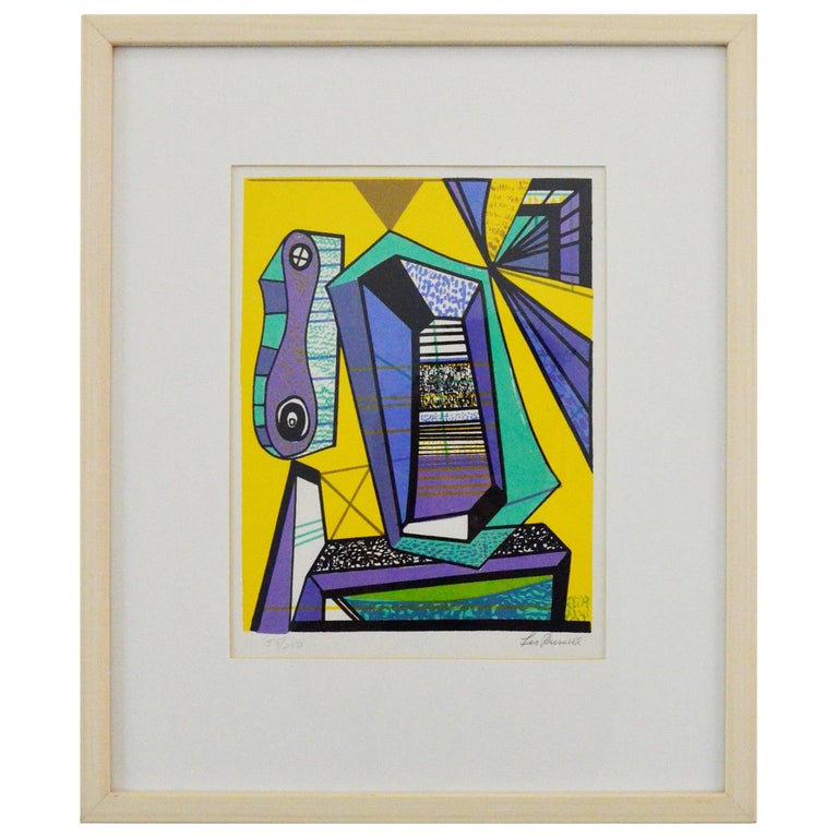 Abstract Modernist Leo Russell Graphic Print in Yellow, Purple, Black and Gray For Sale