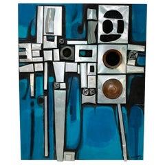 Abstract Modernist Mixed Medium Oil Painting by Saptohoedojo, circa 1970s