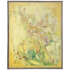 Abstract Modernist Oil Painting of Wildflowers by Elizabeth O'Malley circa 1960s