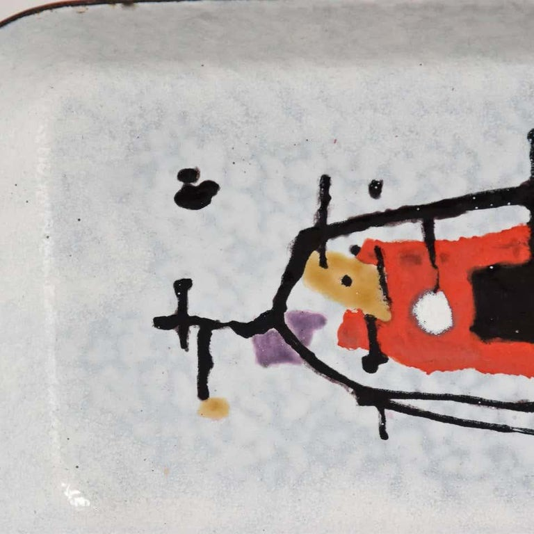 Abstract Modernist Petite Enamel Tray Artwork by Artist Eugenio Carmi 1950 Italy In Good Condition For Sale In National City, CA